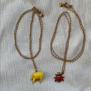 2- J. Crew Hippo and Ladybug Necklaces